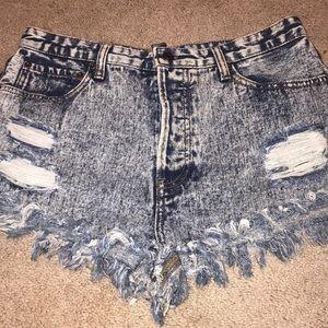 Acid Wash Denim Shorts